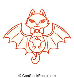 halloween cat mascot with bat wings