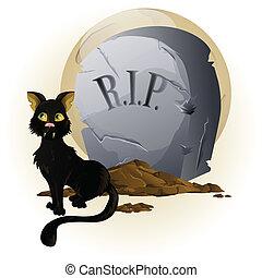 Halloween Cat on Tombstone