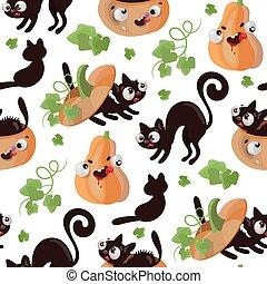HALLOWEEN CAT Pumpkin Flat Design Seamless Pattern Vector