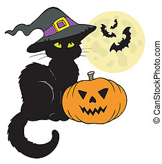 Halloween cat silhouette with Moon - vector illustration.