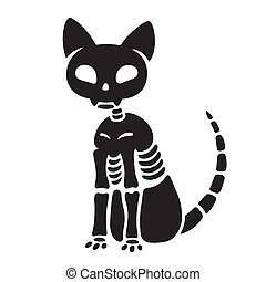 Spooky black and white cat skeleton drawing. Creepy Halloween kitty vector illustration.