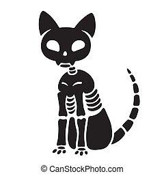 Halloween cat skeleton - Spooky black and white cat skeleton...