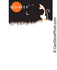 Halloween cat .with moon light. Vector graphic image for Halloween