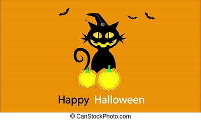 Halloween cat with pumpkin, art video illustration.