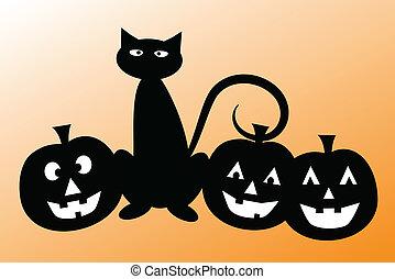 Halloween Cat with Pumpkins