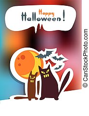 halloween cats and moon