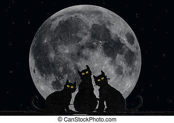 Halloween Cats - Black cats with full moon.
