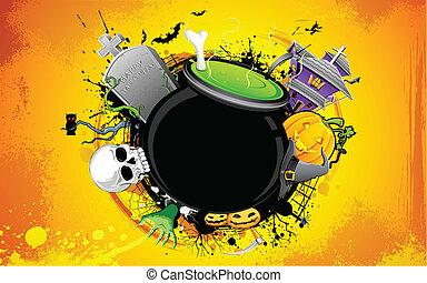 Halloween Cauldron - illustrartion of cauldron with skull in...