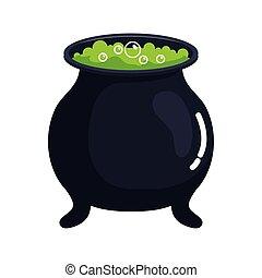 halloween, cauldron witch icon on white background