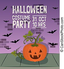 halloween celebration card with pumpkin character and bats