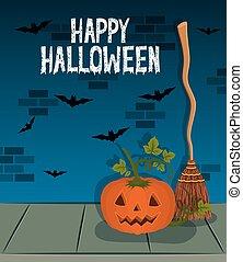 halloween celebration card with pumpkin character