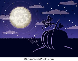 halloween celebration card with pumpkin in the dark