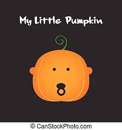 halloween, celebration., peu, conception, type caractère bébé, citrouille, mon, illustration, pumpkin., vecteur