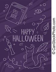 Halloween celebration print with witch occult supplies. Traditional spell book, candle and feather floating in the air around black cat. Witchcraft concept.