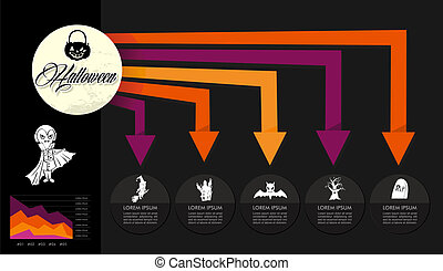 Halloween celebration spooky Infographics design icons. EPS10 vector file organized in layers for easy editing.