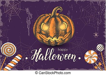 "Halloween celebration vintage background with hand drawn colored candies, web and halloween pumpkin. Hand made quote ''Halloween. Trick or Treat"". Lettering. Banner, flyer, brochure. Advertising"