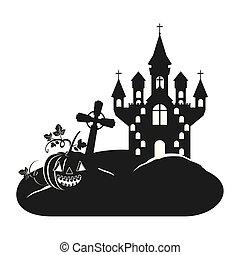 halloween celebration with castle in cemetery scene