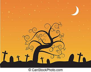 halloween-, cementerio, noche