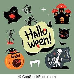 halloween, cementerio, vector, caricatura, illustration.