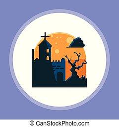 halloween, cementerio, vector, icono, señal, símbolo