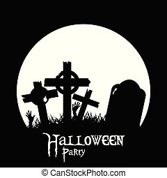 Halloween cemetery and zombie hands black silhouette