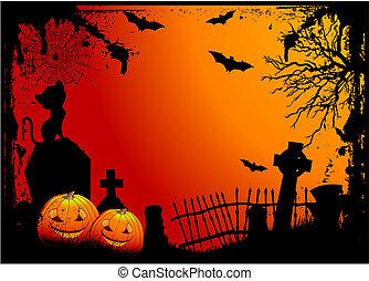 Halloween cemetery - Grunge Halloween cemetery background