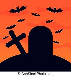 halloween cemetery with bats flying scene