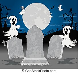 Halloween cemetery with ghost