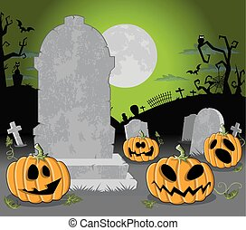 Halloween cemetery with pumpkins