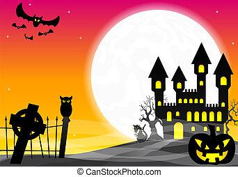 halloween, château, hanté