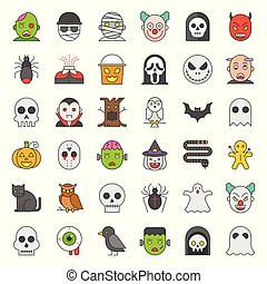 Halloween character filled outline vector icon set.