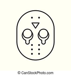 Halloween character icon, murderer mask jason, editable...