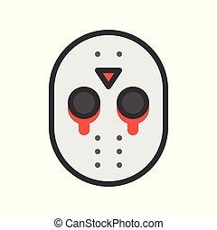 Halloween character icon, murderer mask jason, editable stroke