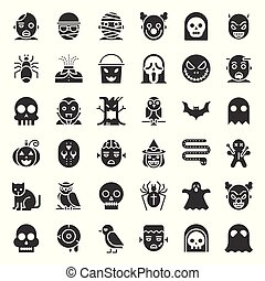 Halloween character icon set in solid design