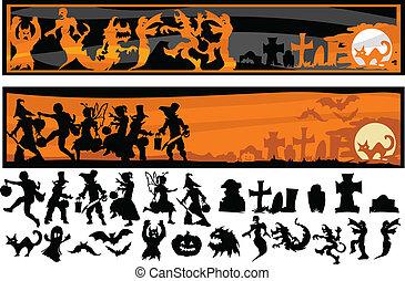 Halloween Character Silhouettes Vector Illustration
