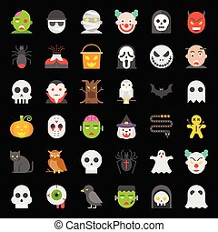 Halloween character vector icon set in flat design.