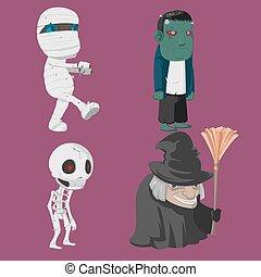 Halloween Characters Cartoon Collection Set Vector