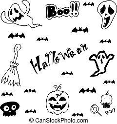 Halloween characters doodle set