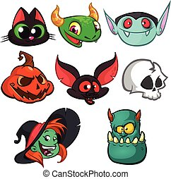 Halloween characters faces set. Bat, witch cat, grim reaper, green monster, witch, vampire and pumpkin