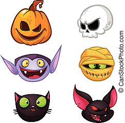 Halloween characters icon set. Cartoon heads of pumpkin, death, vampire, mummy, witch cat, bat