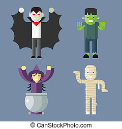 Halloween Characters Icons Set on Stylish Background Modern Flat Design Vector Illustration
