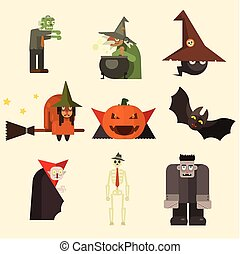 Halloween Characters in Flat Style Vector Illustration