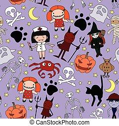 Halloween characters seamless