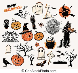 Halloween characters. Vector illustration
