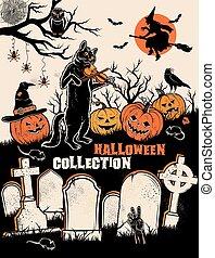 Halloween characters. Vector illustration