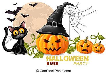 halloween, chat, réaliste, vecteur, noir, potirons, faces, carte
