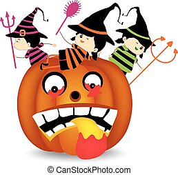 Halloween children wearing costume
