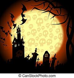 halloween churchyard, bats and skulls on the moon -...