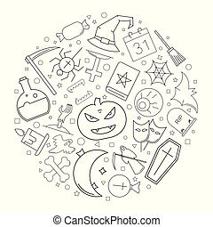 Halloween circle background from line icon. Linear vector pattern.
