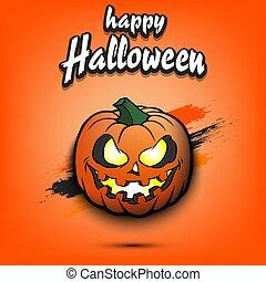halloween., citrouille, heureux, sinistre, sourire